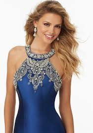 country style mori lee 2016 newest heavily beaded halter neck