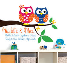brother wall decals etsy owl decor wall decal childrens brother and sister owls
