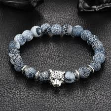 natural stone beaded bracelet images Wholesale antique silver plated buddha leopard head bracelet lava jpg