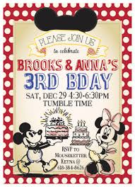classic vintage mickey mouse minnie mouse birthday invitation