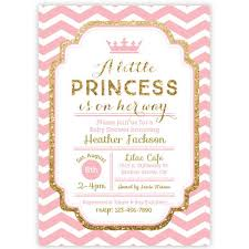 princess baby shower chevron princess baby shower invitation pink and gold glitter