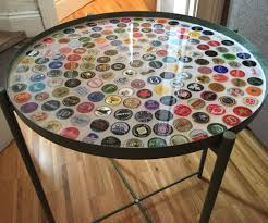 bottle cap tray table with grout and resin 8 steps with pictures