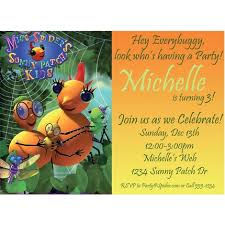spiders sunny patch kids birthday party invitation digital