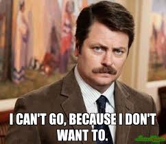 I Don T Usually Meme - i can t go because i don t want to meme ron swanson 4632