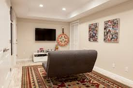 bedroom contemporary basement plus area rug and baseboards with