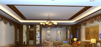 chinese living room design rendering with blue and white porcelain