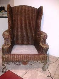 Wingback Wicker Chair Beautiful Rattan Wicker Wingback Chair With Cast Iron Ball And