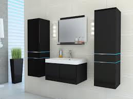 muebles de lavabo conjunto de baño con leds lacado color negro