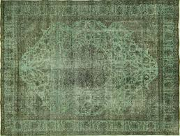Green And Brown Area Rugs Tabriz Collection Paris Green Overdyed 9 U0027x12 U0027 Hand Knotted Wool