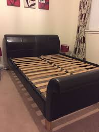 john lewis sleigh double bed frame leather excellent condition