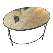 West Elm Coffee Table West Elm Foxed Mirror Oval Coffee Table Chairish
