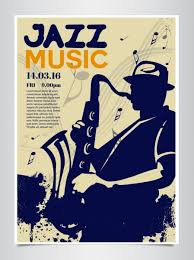 Music Note Decor Jazz Poster Saxophone Player Silhouette Music Notes Decor Vector