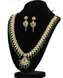 emerald gold necklace jewelry images Stunning gold tone diamond replica long necklace with emerald jpg