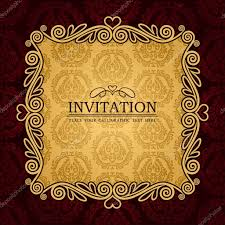 Design Patterns For Invitation Cards Abstract Background With Antique Vintage Frame And Banner Red