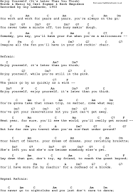enjoy yourself lyrics with guitar chords for enjoy yourself it s later than you