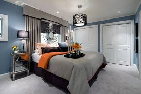 blue and grey bedrooms jane lockhart blue gray orange bedroom contemporary bedroom