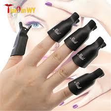 sanwood 10pcs plastic acrylic nail art soak off clip cap uv gel