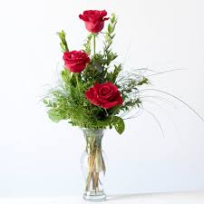 Vase With Roses Triple Rose Bud Vase
