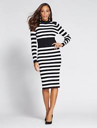 sweater dress ny c gabrielle union collection mock neck sweater dress stripe