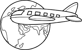 airplane travel around globe coloring page wecoloringpage