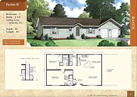 2 Bedroom Floor Plans Ranch by Modular Ranch Style Home Paxton Ii 1190 Sq Ft 2 Bed 1 75