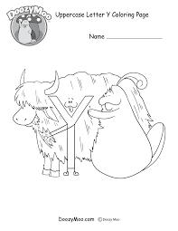 cute uppercase letter coloring free printable doozy moo