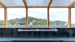 roof deck bar trellis at rhinegeist brewery by