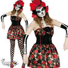 Harlequin Honey Halloween Costume Ladies Lady Death Sugar Skull Dead Halloween Fancy