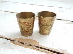 2 vtg brass cups with vintage ornaments vintage cups cups