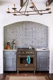 Green Brick Backsplash Tiles Transitional Amazing Kitchen Features A Ceiling Accented With Rustic Wood Beams