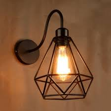 Industrial Wall Sconce Industrial Wall Sconce With Wrought Iron Shape Metal Cage