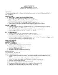 Family Caregiver Resume Cover Letter Child Caregiver Resume Child Care Resume Objective