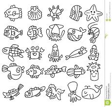 hand draw aquarium fish icons set royalty free stock photography