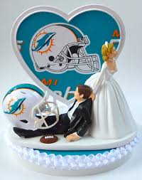 wedding cake topper miami dolphins football themed w garter