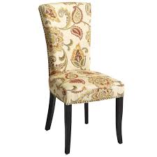 adelaide ochre floral dining chair with espresso wood pier 1 imports