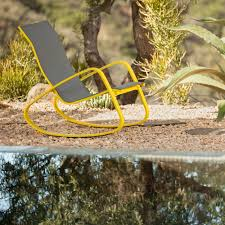 Rocking Chair Tab Royal Garden Eero Aluminum Outdoor Sling Rocking Chair Yellow