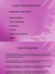 types of purple classification and types of entrepreneurship