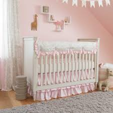 nursery design pink and gray crib bedding for a home