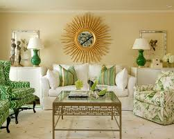 Green Chairs For Living Room Sunburst Mirror Decor Living Room Traditional With Green Armchair