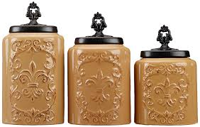 amazon com american atelier antique canisters set of 3 cream