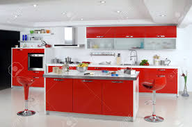 modern kitchen red red color modern kitchen in the house stock photo picture and