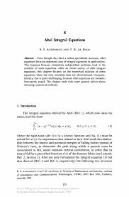 Best Ceo Resume by Abel Integral Equations Springer