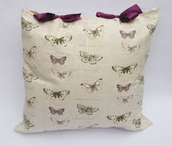 butterfly design cushion with purple bows handmade