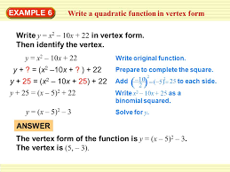 example 6 write a quadratic function in vertex form
