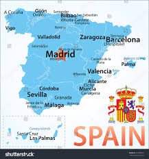 Pamplona Spain Map by Spain Map Largest Cities Carefully Scaled Stock Vector 218368810