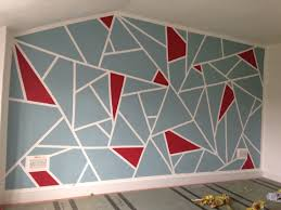 Washi Tape Wall Designs by Diy Geometric Feature Wall Frog Tape And Dulux Roasted Red And