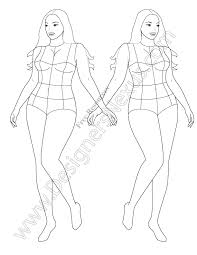 full figure template v60 front view plus size croqui
