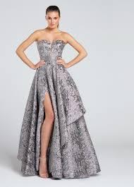 strapless metallic a line prom dress ew117040