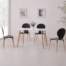 Napoli Dining Table Dining Table In White Top And 4 Black Dining Chairs