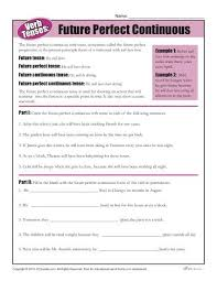 verb tense worksheets future perfect continuous